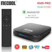 google tv boxes venda por atacado-Google Certified Mecool KM9 Pro ATV 2G16g 4G32G Android 9.0 Caixa de TV Amlogic S905X2 Entrada de Voz Dupla WIFI Inteligente TV