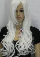 hermosas mujeres de pelo largo al por mayor-WIG ENVÍO LIBRE Caliente resistente al calor fiesta HairEuropean Style Beautiful Specialized White Long Curly Hair Girls / Women Wigs K