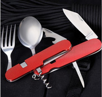 Wholesale swiss army knives for sale - Group buy 6 in Multifunctional Foldable Tableware Removable Combination Outdoor Tools foldable fork and spoon Swiss Army Fruit Knife