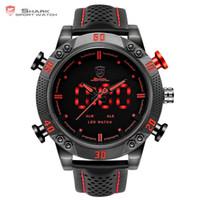акулы спортивные часы цифровые оптовых-Kitefin Shark Sport Watch Brand мужские военные кварцевые красные светодиодные часы аналоговый цифровой дата будильник кожаные наручные часы Relogio /sh261 Y19061905
