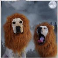 peluca de la melena al por mayor-Juguete para mascotas de fiesta Adornos para el cabello de Halloween Disfraz de mascota Gato Ropa de Halloween Disfraces Disfraz de León Melena Peluca para perros grandes