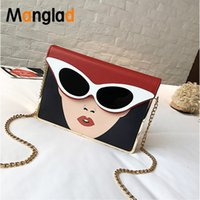 Wholesale sexy women wallets for sale - Group buy Manglad Panelled Glasses Sexy Woman Chain Pu Leather Shoulder Bag Women Messenger Bags Small Flap Purse Ladies Crossbody Bag New