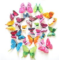Wholesale wall decor butterfly blue online - 12Pcs D Double layer Butterfly Wall Sticker on the wall for Home Decor DIY Butterflies Fridge Magnet stickers Room Decoration