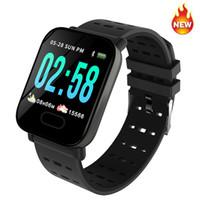 akıllı zil çağırıyor toptan satış-A6 smart watch nabız spor spor izci kan basıncı ios android için çağrı hatırlatma yetişkin izle