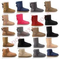 botas pretas venda por atacado-New Austrália botas Mulheres clássico botas de neve Ankle arco curto Fur Sapatinho de Inverno Black Woman Moda Castanha For Shoes Tamanho 36-41