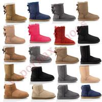Wholesale half rubber shoes resale online - New Australia Boots Women Classic Snow Boots Ankle Short Bow Fur Booties For Winter Black Chestnut Fashion Woman Shoes Size