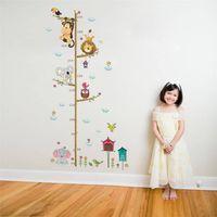 eulen-wandaufkleber für kinderzimmer großhandel-Höhe Maßnahme Wandaufkleber Cartoon Tiere Lion Monkey Owl Elefant Für Kinderzimmer Wachstumstabelle Kinderzimmer Dekor Wandkunst
