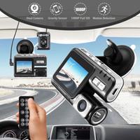 lentes de zoom visão noturna venda por atacado-Full HD 1080 P Dual Lens Controle Remoto Câmera Do Carro DVR Gravador De Vídeo Do Carro Traço Cam Night Vision 140View Filmadora i1000 Com Caixa de Varejo