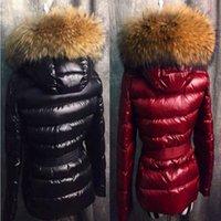 abrigos capuchas para mujer al por mayor-Francia chaqueta de lujo de diseño abrigo real de la piel del mapache de la capilla por la chaqueta abrigo de invierno de las mujeres prendas de vestir exteriores delgada Parkas cuello de la chaqueta calientes