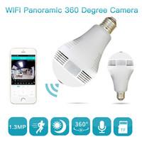 nachtsicht glühbirnen großhandel-Birne Lampe Wireless IP Kamera Wifi 960P Panorama FishEye Home Security CCTV-Kamera 360 Grad Nachtsicht Max Unterstützung 128 GB