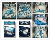 pulpo animal de mar al por mayor-¡Envío gratis! 3D Sea Animals Dolphin Whale Octopus Turtle Design 2 / 3pcs Juego de cama