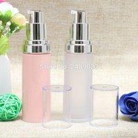 rosa plastiklotion flasche großhandel-Freies Verschiffen 30ml Frosted / Pink Airless-Flaschen-Vakuumpumpe Lotion nachfüllbare Flasche mit Kunststoff als Material 100pcs / lot