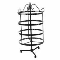 Wholesale black earring displays stand for sale - Group buy 144 Holes Round Rotating Jewellery Display Stand Black Metal Earrings Holder Organizer Stand Rack