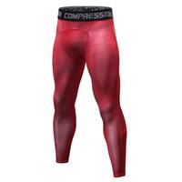 красные мужские леггинсы оптовых-Красные / синие / серые / белые / черные / бодибилдинг мужские леггинсы, эластичные длинные брюки s-xxxl большого размера.