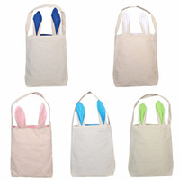 Wholesale easter candy eggs resale online - Rabbit Ears Burlap Easter Basket Cartoon Kids Candy Basket Cute Party Festival Gift Bag Easter Eggs Put Storage Bags TTA1778