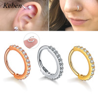 Wholesale color nose piercing resale online - 1PC Hoop Earring Silver And Gold Color Cz Nose Hoop Helix Cartilage Earring Daith Snug Rook Tragus Ring Ear Piercing Jewelry
