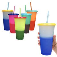 temperatura cambio de color tazas de cafe al por mayor-Cambio de temperatura de plástico Tazas de color Colorido agua fría Cambio de color Taza de café Taza Botellas de agua con pajitas 5 colores ZZA845