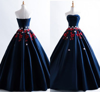 Wholesale modern college dress for sale - Group buy 2019 New Embroidered Prom Dresses Evening Dress Strapless Lace up Satin Ball Gowns Graduation Dress For College Dresses Evening Wear Long