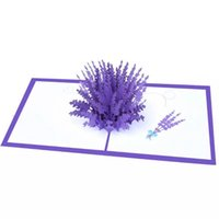 Wholesale post cards for sale - Group buy 3D Pop Up Greeting Cards Lavender Laser Cut Post Card For Birthday Christmas ValentineDay Party Wedding Decoration