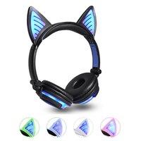 iphone kedi kulakları toptan satış-2019 Kedi Kulak Kablosuz kulaklıklar LED Kulaklar Bluetooth kulaklık Parlayan Yanıp Sönen Kulaklık Yetişkin ve Çocuklar için Oyun Oyun ...