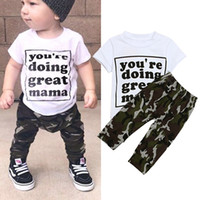 Wholesale baby clothing outfits for sale - Baby boys Letter outfits children Short sleeve Print tops Camouflage pants sets summer Fashion Boutique kids Clothing Sets C6094