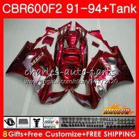 93 honda cbr f2 verkleidungen großhandel-Body + Tank für HONDA CBR 600F2 CBR600FS CBR 600 FS F2 91 92 93 94 40HC.45 600cc CBR600 F2 CBR600F2 1991 1992 1993 1994 Redflames Verkleidungs