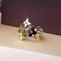 Wholesale open lips resale online - 3pcs Set Lady Women V Letter K Plated Gold Four Leaf Flower Clover Rings Open Adjustable Ring With Hollow Jewelry Couple Lover Gift Gifts