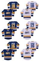 chiefs hockey оптовых-НХЛ Hanson Brothers Charlestown Chiefs хоккей Джерси #16 Джек Хансон #17 Стив #18 Джефф Хансон SlapShot фильм трикотажные изделия синий белый сшитые