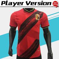 camisa do futebol do jogo venda por atacado-Versão jogador Bélgica de Futebol # 10 E.HAZARD # 9 R.LUKAKU 19/20 Homens jogo de futebol Início Red futebol camisas 2020 uniformes de futebol