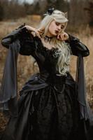 vestidos de novia medievales negros al por mayor-Vestido de fiesta Vestidos de novia góticos medievales Plata y negro Renacimiento Fantasía Vampiros victorianos Vestido de novia de manga larga 2019