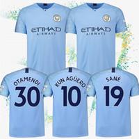 mayo mavi 19 toptan satış-10 KUN AGUERO Formalar 17 DE BRUYNE Mavi ev futbol formaları 33 G. JESUS 19 Sane Erkekler Futbol takım elbise özelleştirilebilir formalar