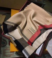 ingrosso sciarpe di marca pashmina-Sciarpe di seta di marca delle migliori firme sciarpa da donna morbida super lussuosa sciarpa di cashmere invernale Pashmina per le donne del progettista di marca da uomo plaid caldo
