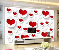 Wholesale custom bedding for sale - Group buy Custom size d photo wallpaper mural livingroom bed room Red and White Love Shape picture sofa backdrop wallpaper mural non woven sticker