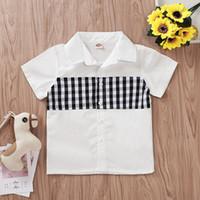 camisa de colarinho de cor preta venda por atacado-Bebê Crianças Camisas Curtas Xadrez Preto Branco Turn-down Collar Camisas Menino Roupas De Grife Único Breasted Roupas 2-7 T 07