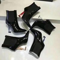 botas sexy de couro preto venda por atacado-Marca O designer preto Ankle Boots de Couro Envernizado em forma de salto sexy spike Moda Botas 11 cm 8.5 cm 7 cm tamanho 35/43