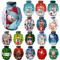 santa hoodie women toptan satış-26style Noel Hoodies Sweatshirt Erkekler Kadınlar Kapşonlu Hoodie 3D Noel Baba Ağaçlar Kazak Noel Komik Gömlek Giyim Tops GGA2969-7