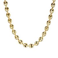 тяжелые длинные золотые ожерелья оптовых-(TN-0027) Тяжелые длинные кофейные бусы из нержавеющей стали 316L, 60 см для мужчин, без выцветания, 18-каратного золота / белого цвета