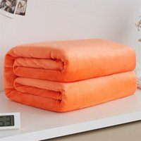 тонкое летнее одеяло оптовых-Twin Full Queen Bedroom Summer Thin Blanket Soft Coral Fleece Throw Sofa Cover Bedspread Solid Flannel Blankets Bedsheet Quilt
