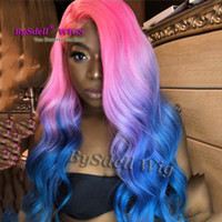 Wholesale beautiful long hair women resale online - New fashion pink red ombre blue color Hair Wig Synthetic long loose wave hair lace front wig beautiful color wigs for woman