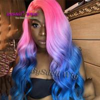 güzel uzun saçlı kadınlar toptan satış-Yeni moda pembe kırmızı ombre mavi renk Saç Peruk Sentetik uzun gevşek dalga saç dantel ön peruk için güzel renk peruk kadın