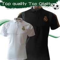 ingrosso shirt in vendita-2019 camice Real Madrid Polo 19 20 camice Equipaggiata design brevi polo del manicotto bianco nero di calcio di formazione Uinforms vendita