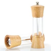 molinillo de sal al por mayor-Molinillo de pimienta manual Pepper Spice Salt Mill Shaker Grinder Manual Muller Herramienta de cocina de madera envío gratis