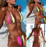 Women 19ss Leopard Colors Patchworkd Bikini Sets Summer Beach Swimwear Tankinis Bras Briefs 2pcs Bikini Sets
