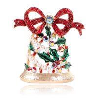 Wholesale accessories for women sale for sale - Group buy Cute Rhinestone Bell Brooches For Women Trendy Christmas Creative Pins Bow Accessories Dress Coat Jewelry Hot Sales