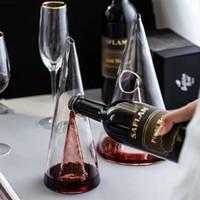 ingrosso decantatori di vetro cristallo-Decanter Pyramid Home Decanter per vino Respiratore per vino in vetro di vetro Bottiglia per acqua in vetro Accessori per gonfiatore di vino in vetro Base larga