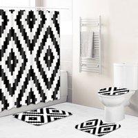 Wholesale black white mats resale online - T Classic Black and White Shower Curtain Bathroom Carpet D Bath Mat Anti slip Toilet Rugs Set for Home Decor Partition Curtain