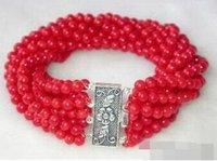 korallen perlen blumen großhandel-8 Reihen 4 mm rote Koralle Perlen 18KWGP Blume Verschluss Armreif Großhandel schöne Frauen Hochzeit Schmuck