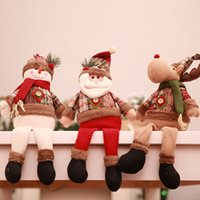 vasos de navidad al por mayor-Navidad Cuelgue Escaparate fotografía Recuerdos Pequeño muñeco de nieve de Santa reno Vaso Toy pierna larga Sentado árbol de navidad de la muñeca