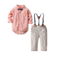 ingrosso corpo dei ragazzini-Completi di abbigliamento per neonato Completi per neonato neonato 3 pezzi Abiti cotone Stampa di ancoraggio Tute + pantaloni di stoffa + Papillon 19F075