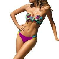 ingrosso costume da bagno bandeau viola-Womail 2018 nuove donne bikini set a vita alta viola ananas stampa digitale fasciatura del costume da bagno costume da bagno monokini
